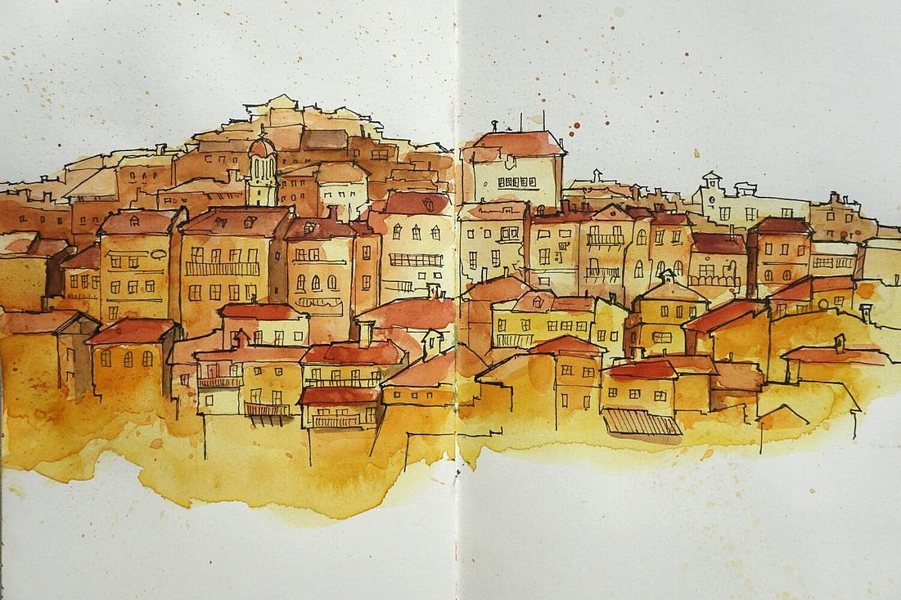 Drawing of houses on the hill in Veliko Tarnovo, Bulgaria